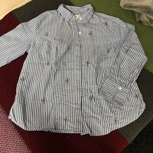 Striped Button Down Embroidered Shirt
